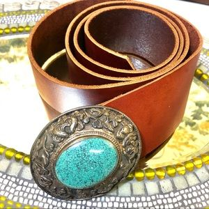 Accessories - Women gorgeous turquoise buckle leather belt, L